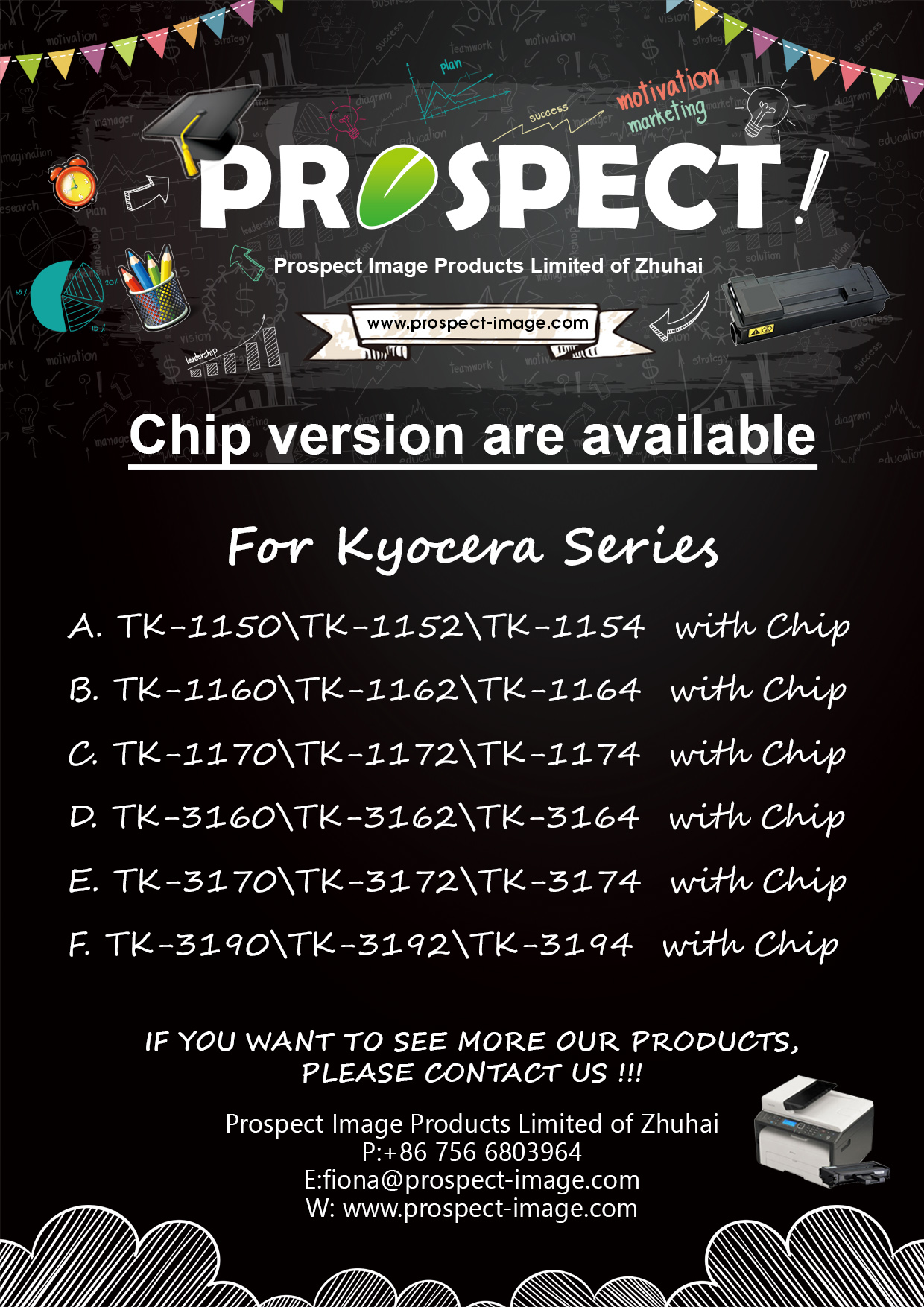 New compatible chip for Kyocera TK1150/1160/1170/3160/5220